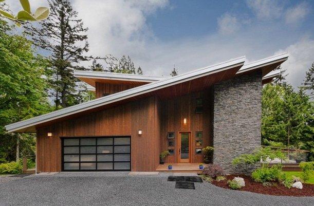 Односкатная крыша на красивом доме