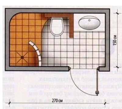 Прозрачная небольшая перегородка для душа на подиуме