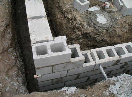 Выкладка фундаментных блоков в траншее
