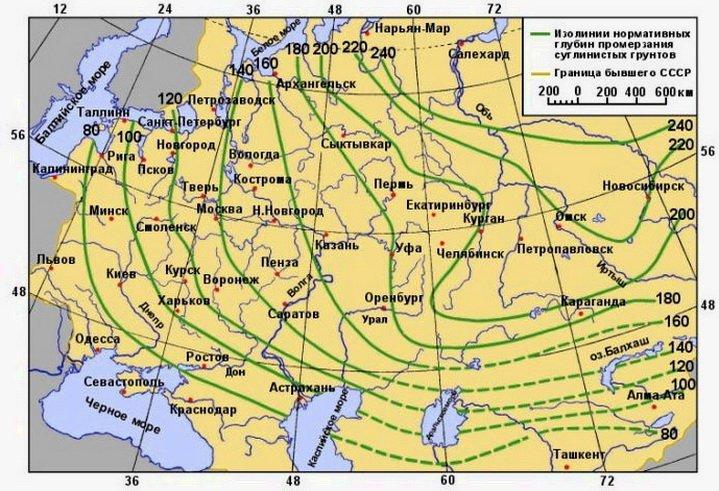 Карта промерзания почвы на территории России и Украины