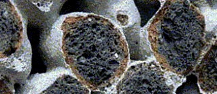 Особеные свойства крупнопористого керамзитобетона - разлом по зернам