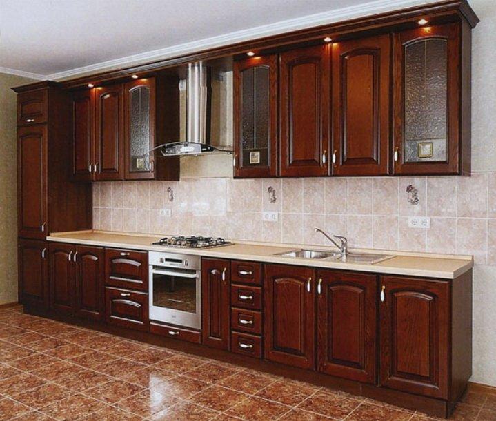 Расположение мебели на кухне в одну линию