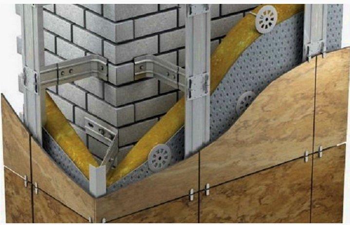 Закрепление кронштейнов под навеску на углах здания