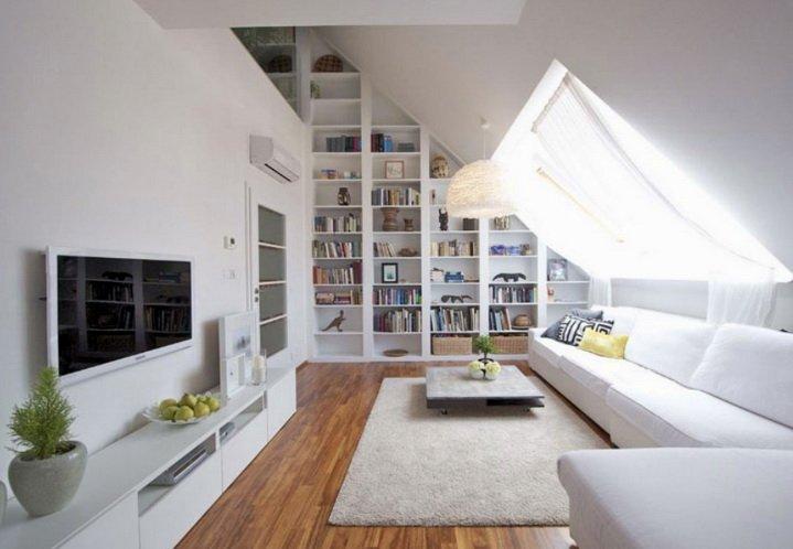 Мансарда дома - светлая и просторная