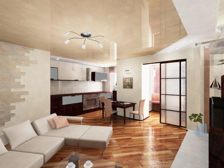 Планировка гостинной комнаты - вариант совмещенный с кухней