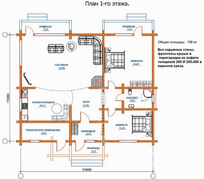 Большая гостинная комната на первой этаже - проект и планировка комнат