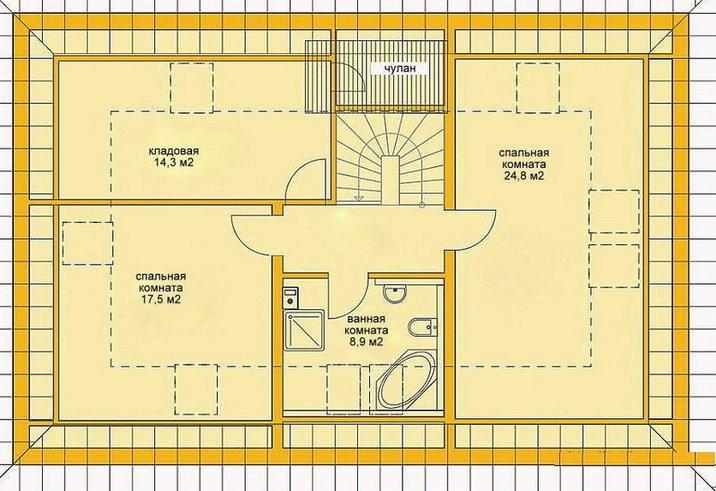 Схема мансарды, которая считается удобной