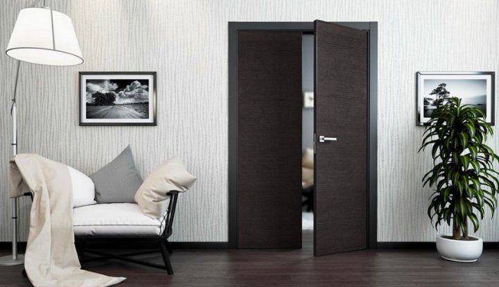 Дизайн с межкомнатными дверями - распашные темного цвета