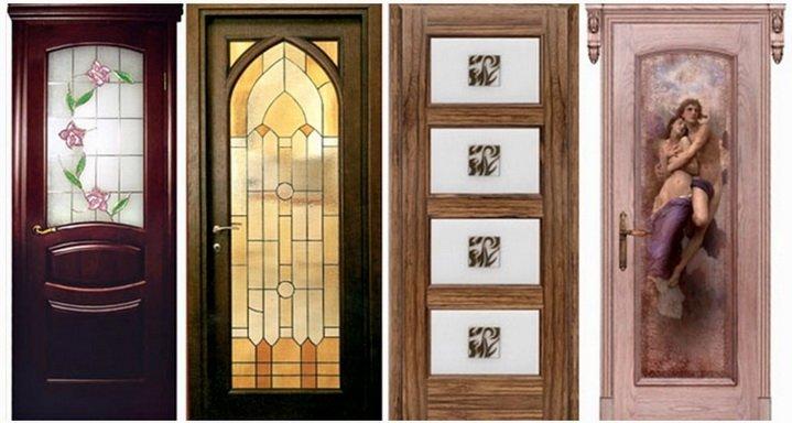 Каркасные двери с витражами
