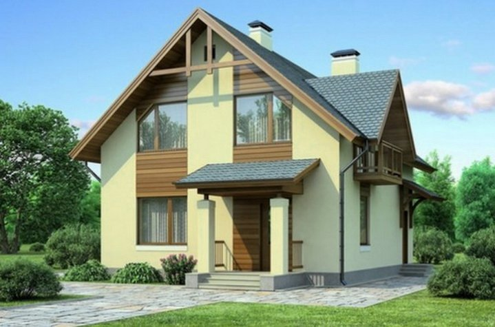 Фасад дома оштукатуренный и покрашенный