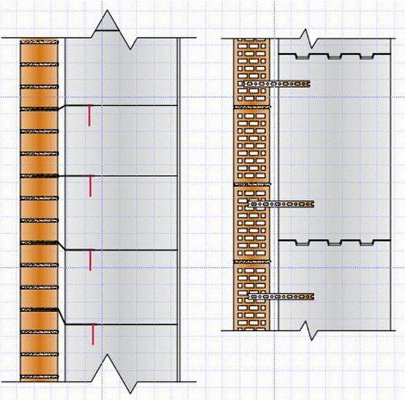 Как кирпич связывается со стеной из газобетона