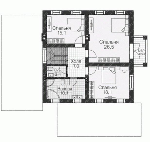 Планировка второго этажа для дома с балконом
