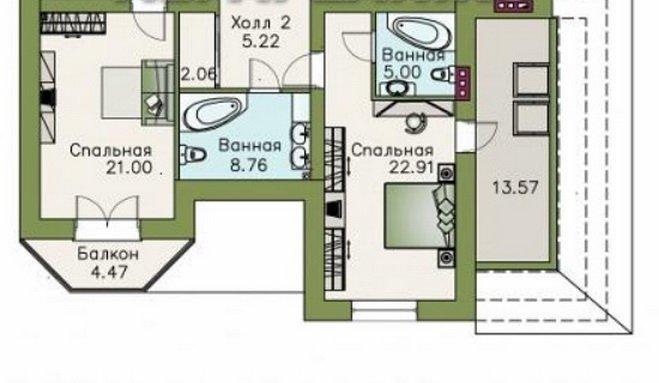 Пример планировки спальни с проходом в санузел