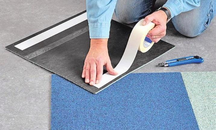 Приклейка ковровой плитки на скотч