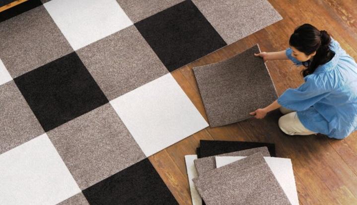 Укладка ковровой плитки в шахматном порядке
