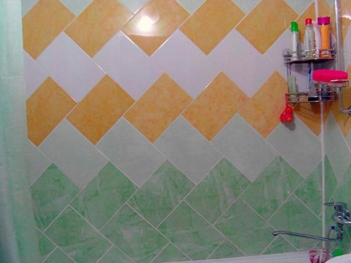 Укладка плитки по диагонали на кривых стенах