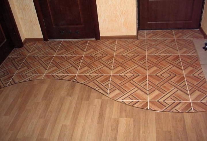 На полу плитка может укладываться фрагментами