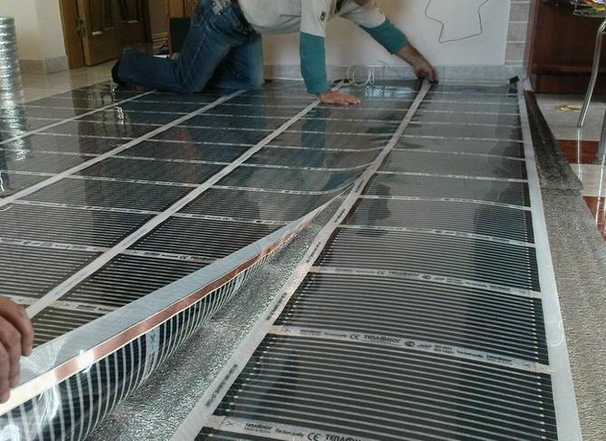 Настилка нагревательных пластин на полу