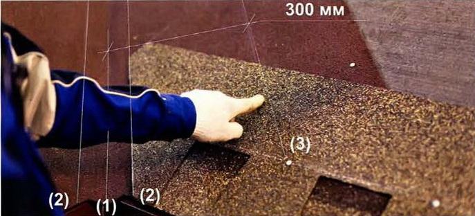Расположение крепежных гвоздей по плитке