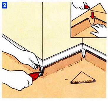 В углах ковровое покрытие подрезается