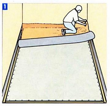 Раскатка рулона материала