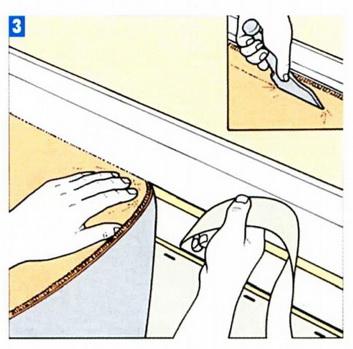 С отворотом подклеивается ковролин к основанию