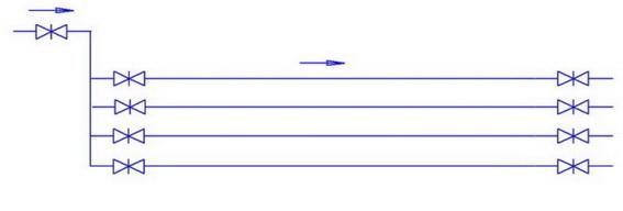 Коллекторная схема включения трубопровода