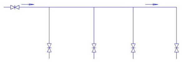 Последовательная схема включения труб