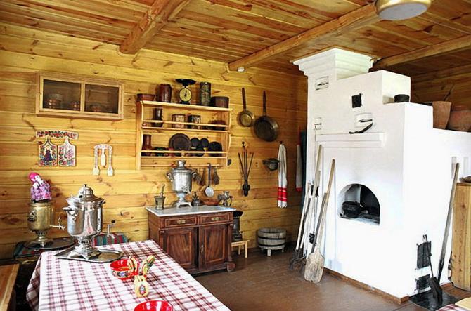Печь по среди деревянной дачи