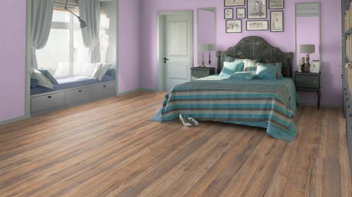 Особенный пол в спальне с ПВХ - покрытием