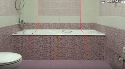 вертикальные швы в ванной